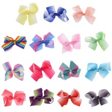 New 1Pc Lovely Designs Boutique Big Hair Bows Alligator Clip Grosgrain Ribbon Bowknot Clip For Girl New(China)