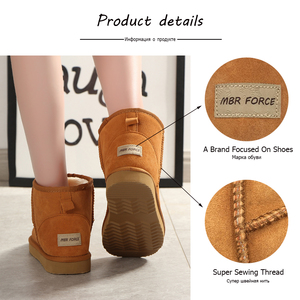 Image 4 - MBR FORCE Australia Women  Snow Boots 100% Genuine Cowhide Leather Ankle Boots Warm Winter Boots Woman shoes large size 34 44