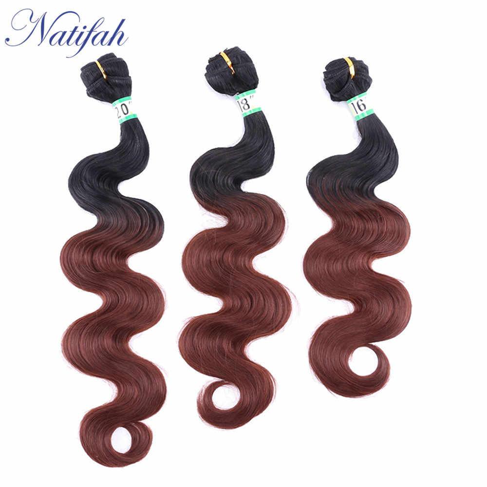 Natifah Ombre doczepy typu body wave wiązki włosów 1 3 wiązki 16-20 cali zestawy syntetyczne do przedłużania włosów fala oceaniczna dla czarnej kobiety