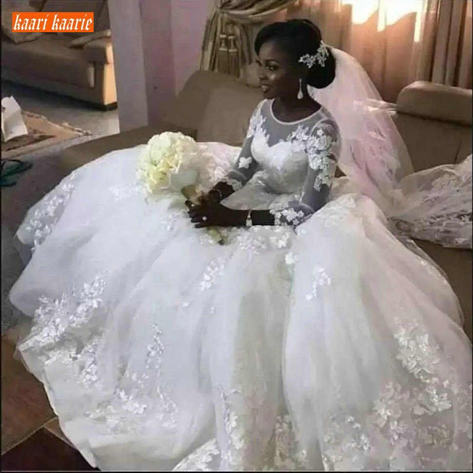 Gorgeous Africa White Wedding Dress Long O Neck 3/4 Sleeve Tulle Ball Gown Bride Dresses Customized Lace Applique Wedding Gowns