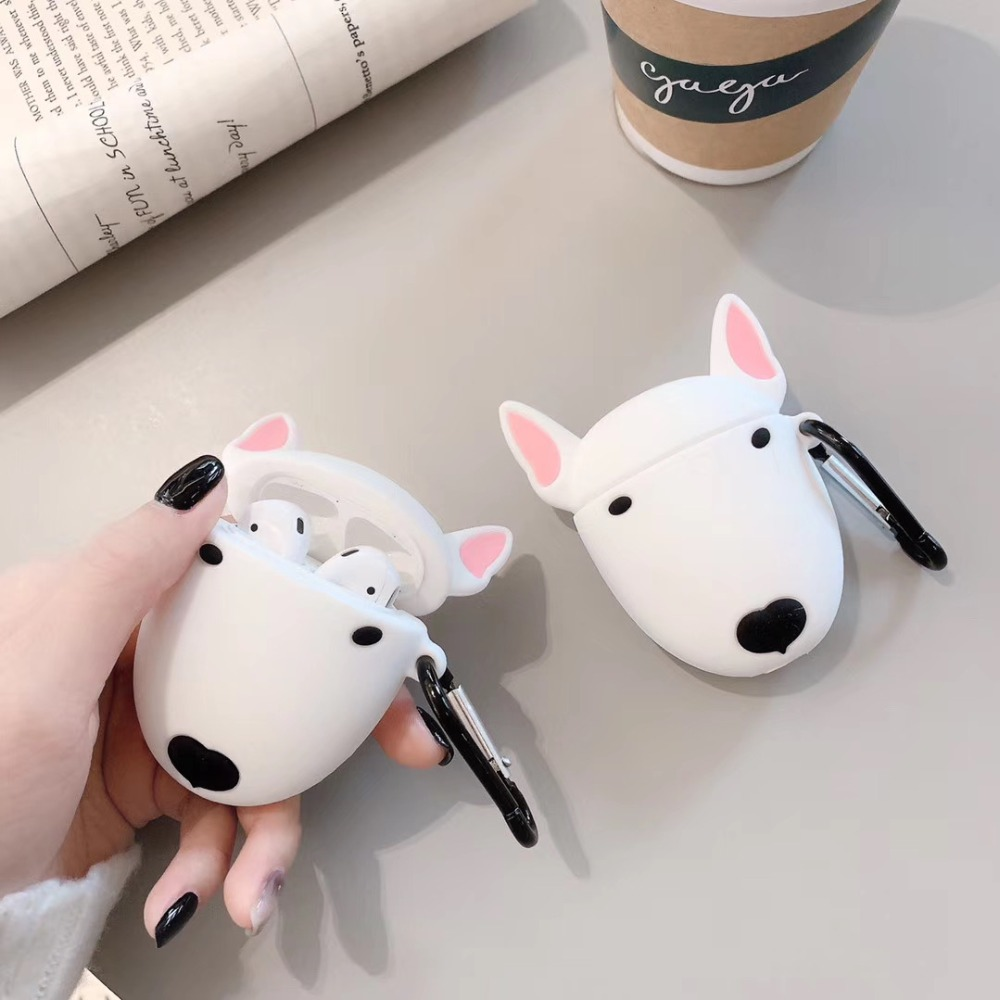 Cute Cartoon Bull Terrier Dog Headphone Case For Apple Airpods Wireless Headset Lovely Puppy Silicone Protection Earphone Cover