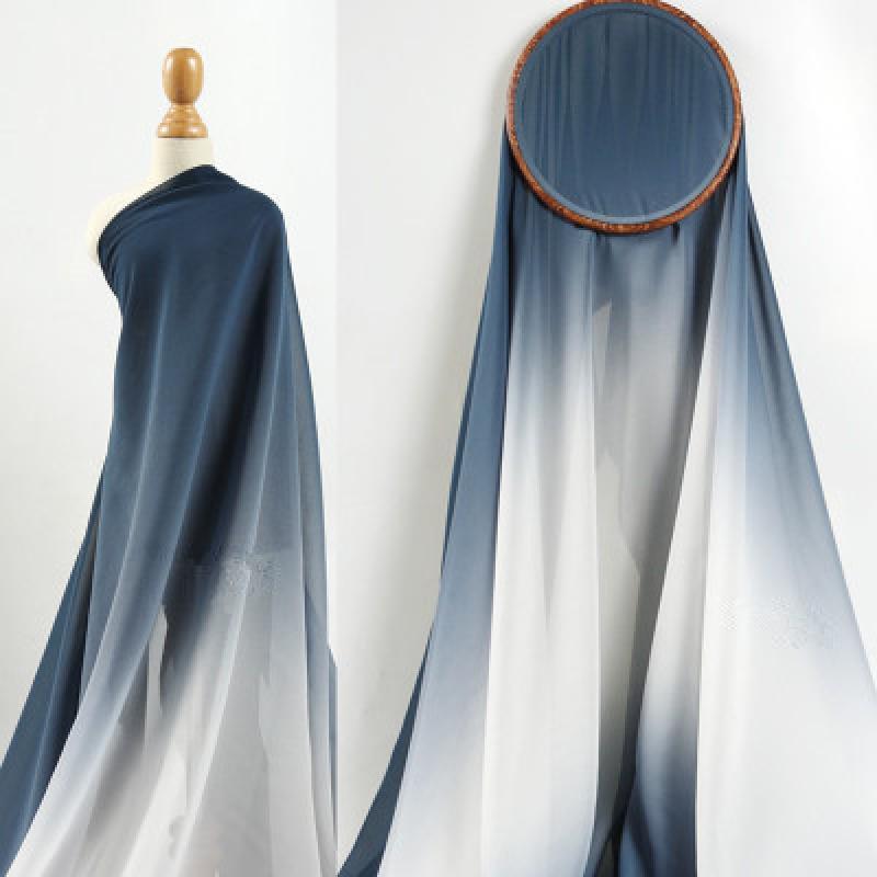 50x148cm Gradient Translucent Fabric Chiffon Soft Breathable High Drape Feeling Wedding Dress Graduated Costume Fabric