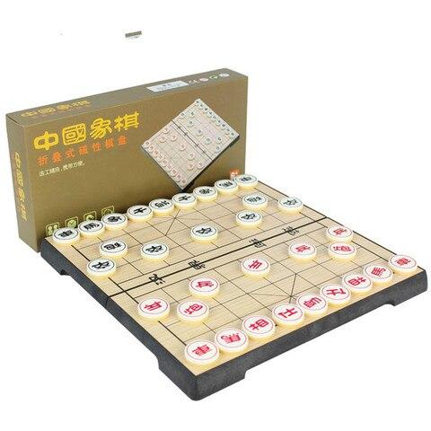 Caixa de Plástico de Alta Jogo de Puzzle qi e Peças com Magnetic Qualidade Xadrez Chinês Xiang Folding Checkboard 32 Pçs – Set Crianças Presentes