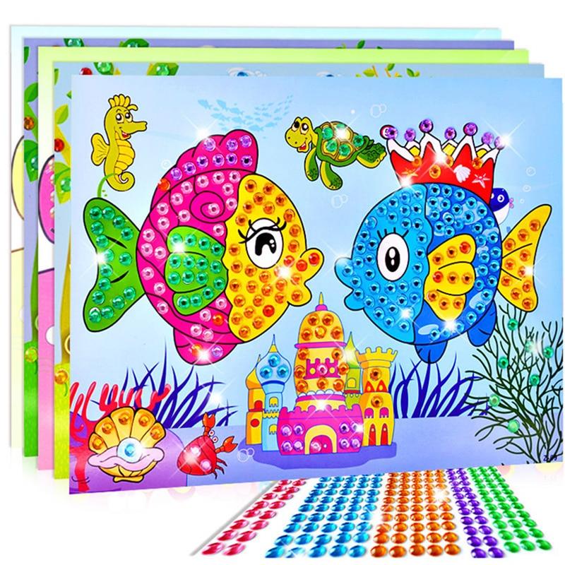 kindergarten lots arts crafts diy toys Cartoon Diamond Sticker Crystal Puzzle crafts kids for children's toys Fun girl/boy gift(China)