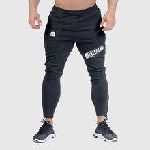 Joggers sweatpants dos homens magro calças casuais cor sólida ginásios workout algodão roupas esportivas outono masculino fitness crossfit calças de pista