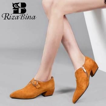 RIZABINA Women Pumps Shoes Fashion Buckle Zipper Simple Shoes Women Stylish Pointed Head Thick Heels Office Footwear Size 35-42