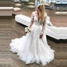 Свадебные платья с глубоким v образным вырезом и длинным рукавом