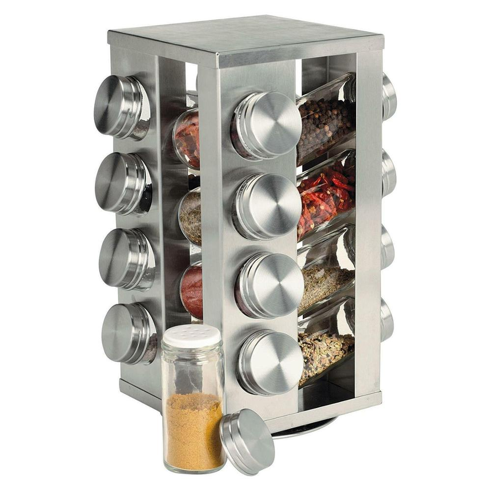 Yonntech Stainless Steel Spice Rack Storage Jar Carousel 16 Spice Jars Rotatable Seasoning Shakers Jars