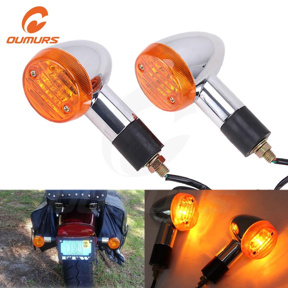 OUMURS 2pcs Set Bullet Motorcycle Turn Signal Light Indicator Blinker Amber Yellow Lamp Chrome Universal For Yamaha Honda Suzuki