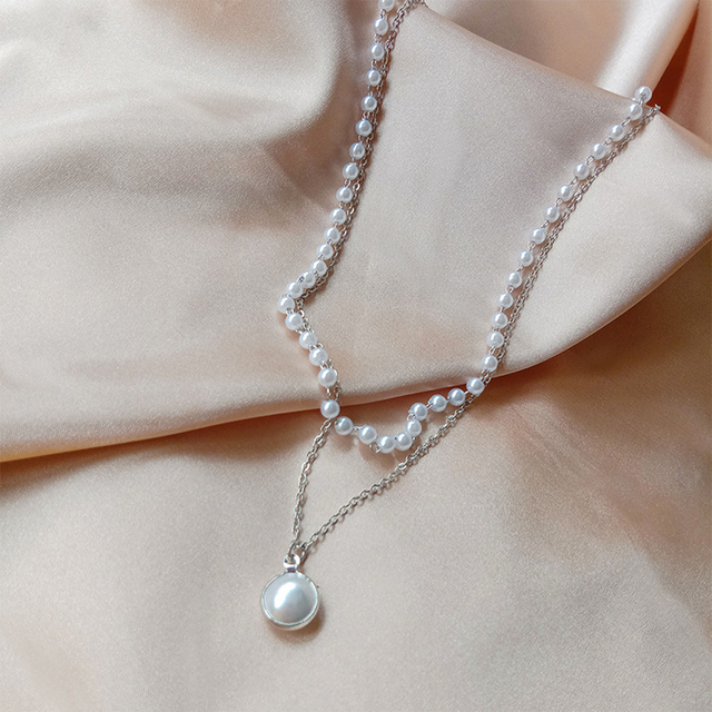 double layer chain and pearl necklace 6