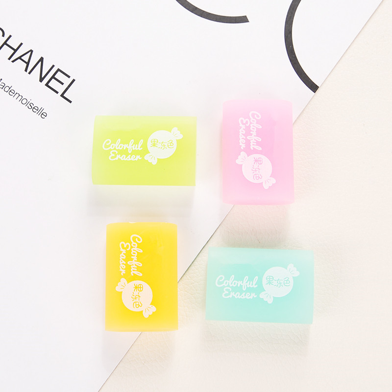 Candy Color Transparent Rubber Pencil Eraser Korean Creative Erasers Primary Prizes Jelly Squares Sketch Student Stationery