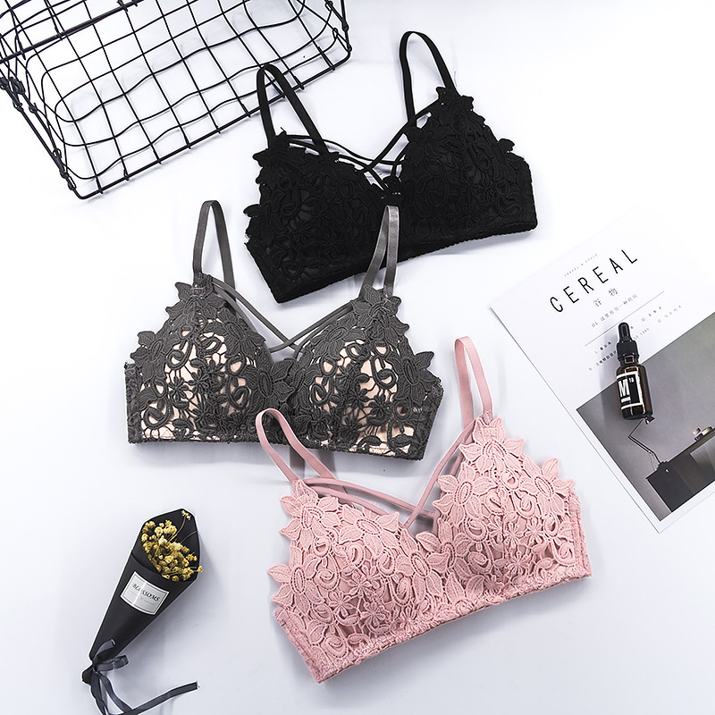 Sexy Lace Bra Women Lingerie Wireless Bras Seamless Bralette Hollow Floral Cross Strap Bandage Bustier Female Underwear #D