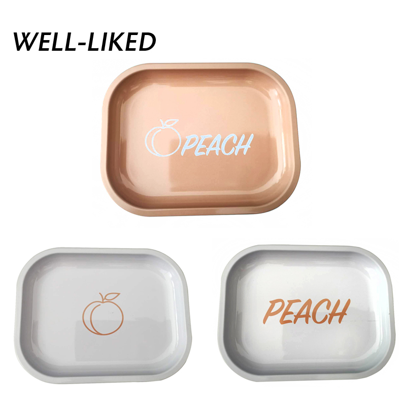 2020 New Arrival Peach Smoke Tray Tobacco Metal Rolling Tray Cigarette Container Tobacco Grinder Storage For DIY Smoking Gift