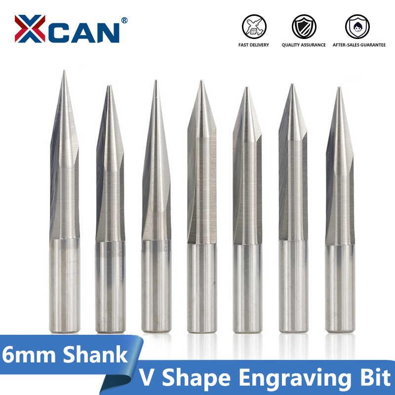 XCAN 1pc 6 millimetri Shank 15/20/25/30 Gradi V Forma Fresa Punta 0.3-1.0mm 2 Flute CNC Intagliare Bit Legno PVC Acrilico Incisione Bit