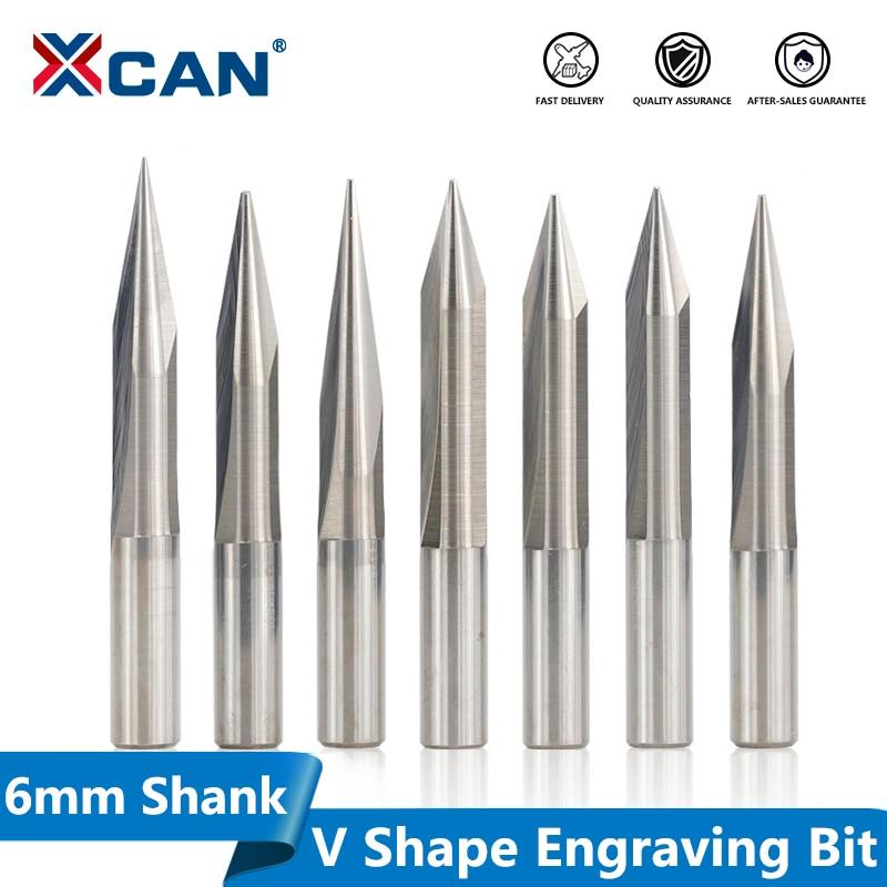 XCAN 1pc 6mm Shank 15/20/25/30 Degrees V Shape End Mill Tip 0.3-1.0mm 2 Flute CNC Carving Bit Wood PVC Acrylic Engraving Bit