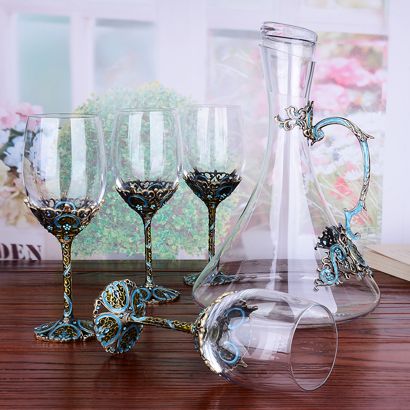 Enamel Metal Red Wine Glass Decanter Set Crystal Goblet Wine Cup Creative Lettering Set Gourd Bottles