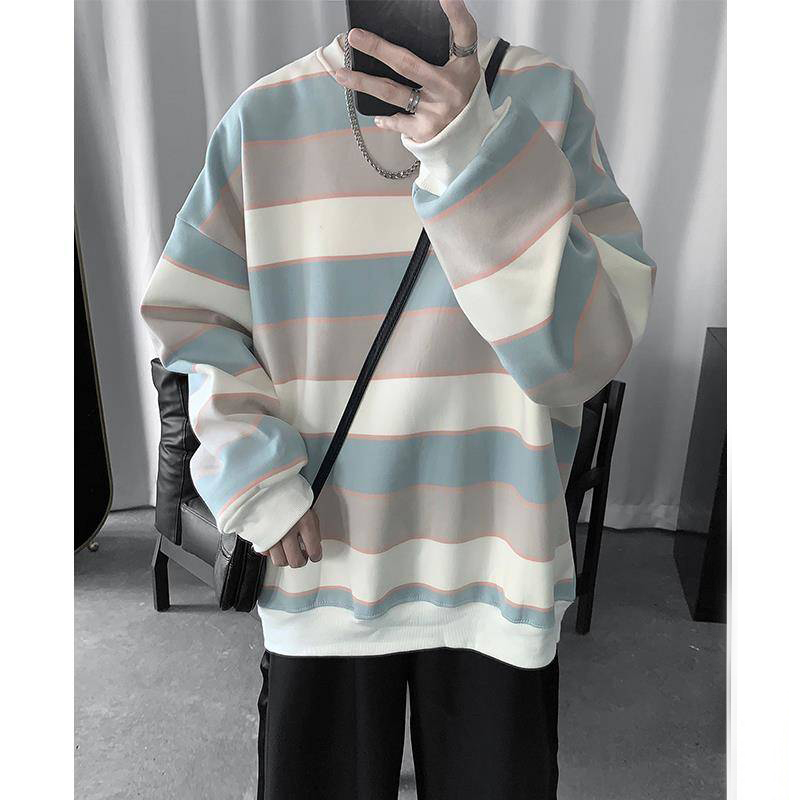 2019 Autumn Fashion Strip Mens Hoodies Korean Hip Hop Loose Casual Sweatshirts Women Oversized Hoodie Plus Size Clothes Males