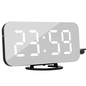 Alarm-Clock Desk Led-Table Time Digital Android Night Phone Snooze-Display for 2-Usb-Charger-Ports