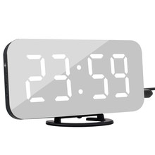Digital LED Alarm Clock Snooze Display Time Night Led Table Desk 2 USB Charge Ports for iphone Androd Phone Mirror
