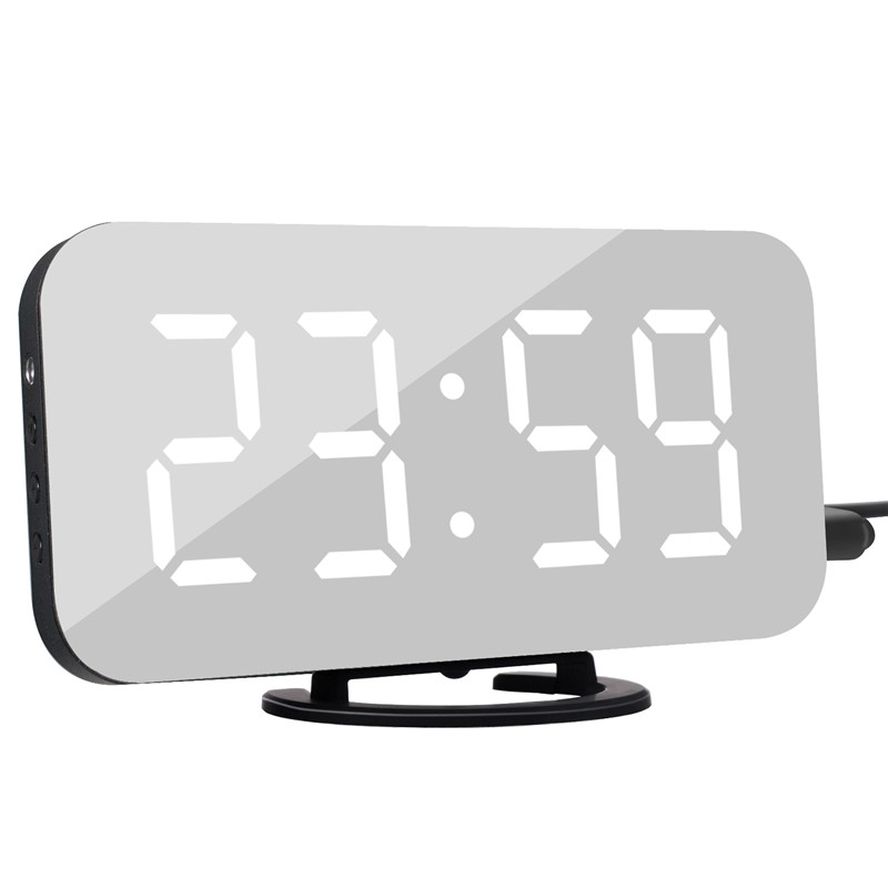 Digital LED Alarm Clock Snooze Display Time Night Led Table Desk 2 USB Charger Ports for iphone Android Phone Alarm Mirror Clock
