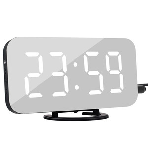 Image 1 - LED Alarm Clock Spiegel Digitale Uhr Snooze Zeit Temperatur Nacht Display Reloj Despertador 2 USB Ausgang Ports Tisch Uhr