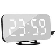 Đèn LED Báo Động Đồng Hồ Gương Đồng Hồ Kỹ Thuật Số Báo Lại Nhiệt Độ Thời Gian Ban Đêm Màn Hình Reloj Despertador 2 Cổng USB Đầu Ra Đồng Hồ Để Bàn