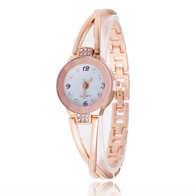 1PCS New Fashion Luxury Rhinestone Watches Women Stainless Steel Quartz Bracelet Watch Ladies Dress Watches Gold Clock