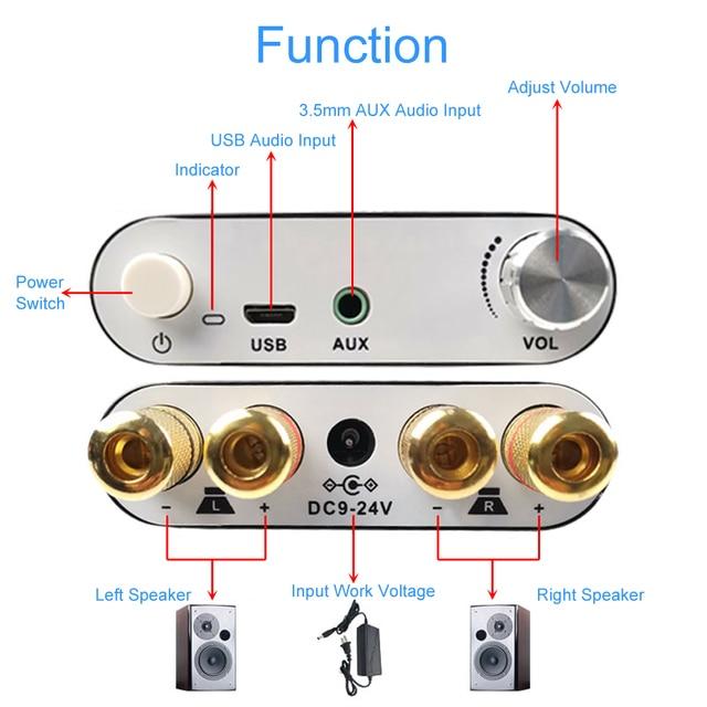 100W + 100W/50W + 50W TPA3116D2 무선 블루투스 오디오 스테레오 모듈 BLE5.0 USB/AUX 디지털 앰프 모듈 (알루미늄 쉘 포함)