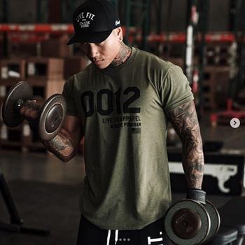 Mężczyźni marka t-shirt do biegania projektant szybkie suche koszulki do biegania dopasowane koszulki koszulki Sport Fitness siłownia Plus rozmiar 3XL koszule z krótkim rękawem tanie i dobre opinie voobuyla Poliester Pasuje prawda na wymiar weź swój normalny rozmiar Lato