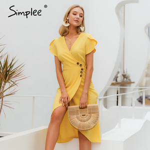 Image 4 - Simplee Sexy v neck women wrap dress Casual solid button female summer dress Elegant ladies cotton spring a line work midi dress