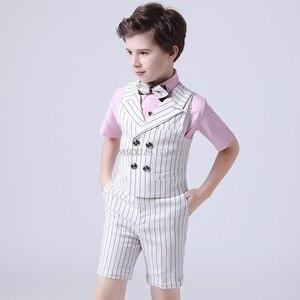 Kwiat chłopcy lato luksusowy garnitur książę szlachetna kamizelka koszula szorty pasek Bowtie 5 sztuk sukienka dzieci fortepian wydajność kostium