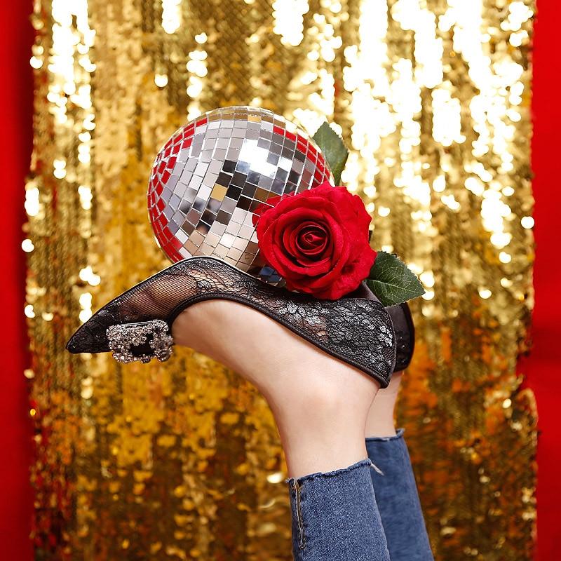 Celebrity Frankrijk Luxe Black Lace Mesh Vierkante Gem Bling Parels Hoge Hak Avondfeest Dames Bruidsmeisjes Sexy Jurk Schoenen - 2