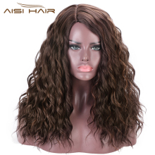 AISI HAIR Long Kinky Curly Wig Synthetic Brown Mix Blond Wigs for Black Women Side Part Wig Natural Hair Heat Resiatant Fiber side parting fluffy long curly synthetic wig