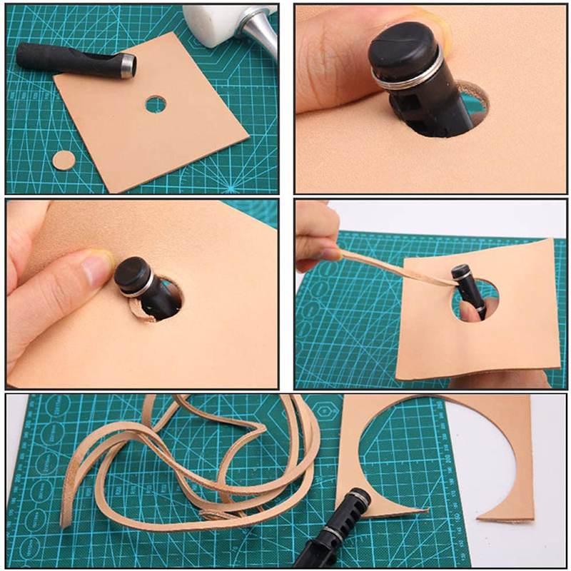 LMDZ Leather Cord Knife Hand Rotary Cutting Wire Cutter Leathercraft Tool Cord Knife with 3 Blade Leather Cutting-5
