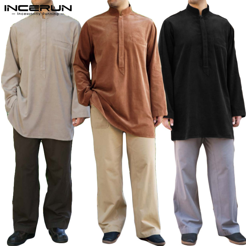 INCERUN Islamic Muslim Shirts Men Long Sleeve Stand Collar Casual Solid Color Shirts Vintage Arabic Dubai Kaftan Men Long Tops