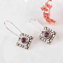 цены Evening Party Women Earrings Antique Square Faux Ruby Inlaid Hook Earrings Jewelry Gift New Woman's accesories