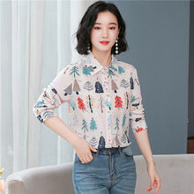 Korean fashion silk women blouses office lady shirt and blouse