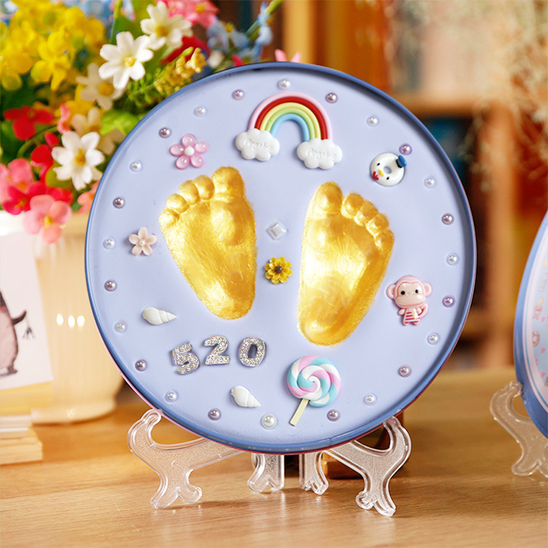 Babys Gift Baby Footprint Babies Hand Foot Imprint Kit Casting Toys Print Baby Handprint Newborn Souvenir Air Drying Soft Clay