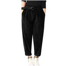 Vintage Pockets Corduroy Women Solid Button Sleeve Loose Casual Pants Plus Size(China)