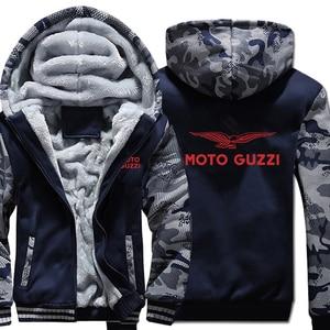 Image 3 - Moto Guzzi bluzy z kapturem kamuflaż rękaw kurtka z kapturem na zamek zima polar Moto Guzzi bluza