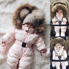 Baby Fur Romper Rompers USA Boy Girl Winter Clothes Collar Thicken Coverall Warm Jumpsuit