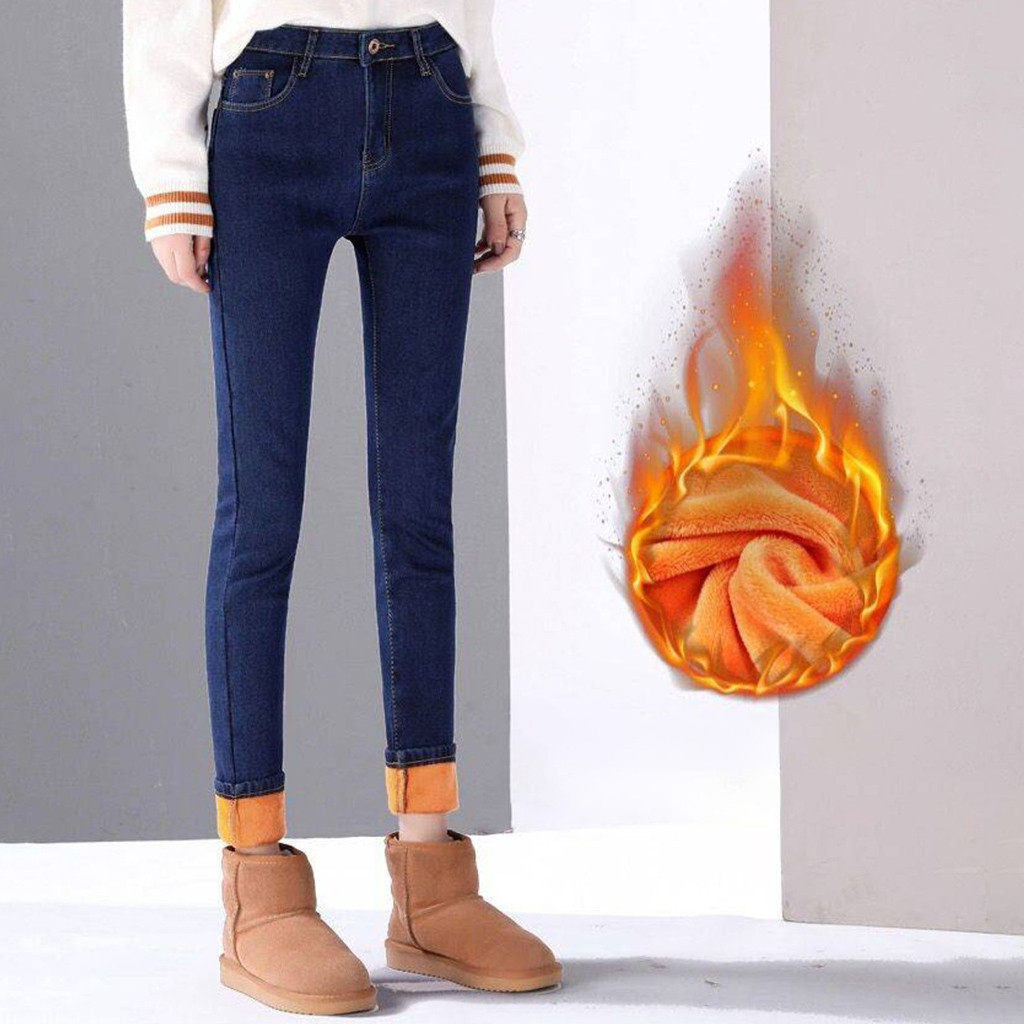 Winter Plush Jeans Pants For Women Warm High Waist Denim Pant Skinny Tight Capris Female Sexy Casual Trousers Slim Pantalones