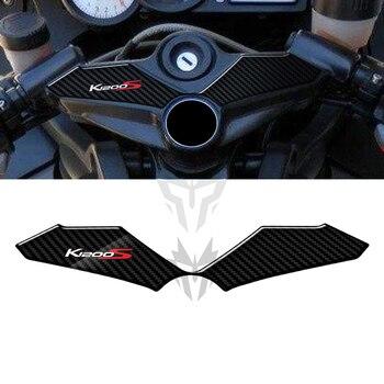 Carcasa adhesiva 3D para BMW K1200S 2004-2008, con apariencia de carbono, abrazadera de Triple horquilla superior