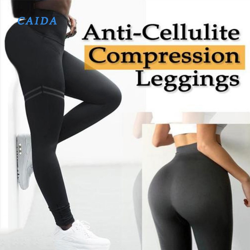 CAIDA Women High Waist Anti-Cellulite Compression Slim Leggings For Tummy Control And Running