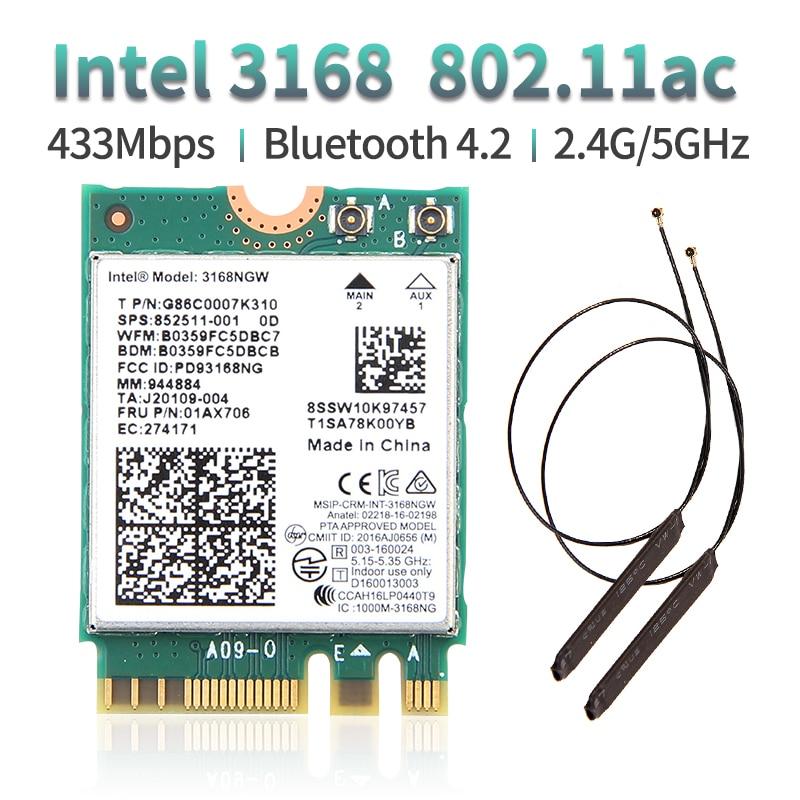 Двухдиапазонная беспроводная сетевая карта 600 Мбит/с, Wi-Fi ресивер Intel 3168 AC 3168NGW NGFF M.2 802.11ac Wi-Fi Bluetooth 4,2 карта