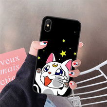 JAMULAR Cute Cartoon Comics Sailor Moon Luna Cat Phone Case For iPhone XS MAX XR X 7 8 6 6s Plus Black Silicone Soft Back Cover
