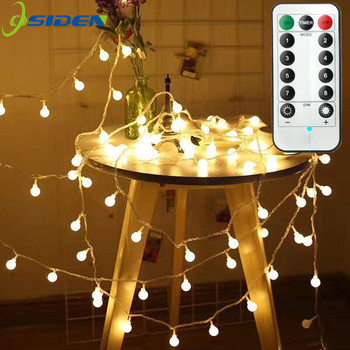 Ball LED String Light Remote Control Warm White Chain Fairy Light Holiday Christmas Wedding Outdoor Decor Battery Operated 3m 5m
