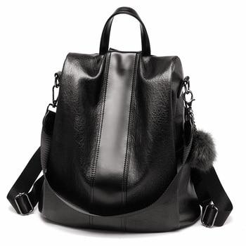 2019 New Fashion Women Backpack Vintage Leather Backpacks for Teenager Girls Preppy School Bagpack Female Travel Bags Mochila