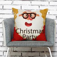 45*45CM New Christmas Pillow Cover Red Merry Christmas Printed Polyester Santa Claus Cushion Pillowcase Xmas Gift