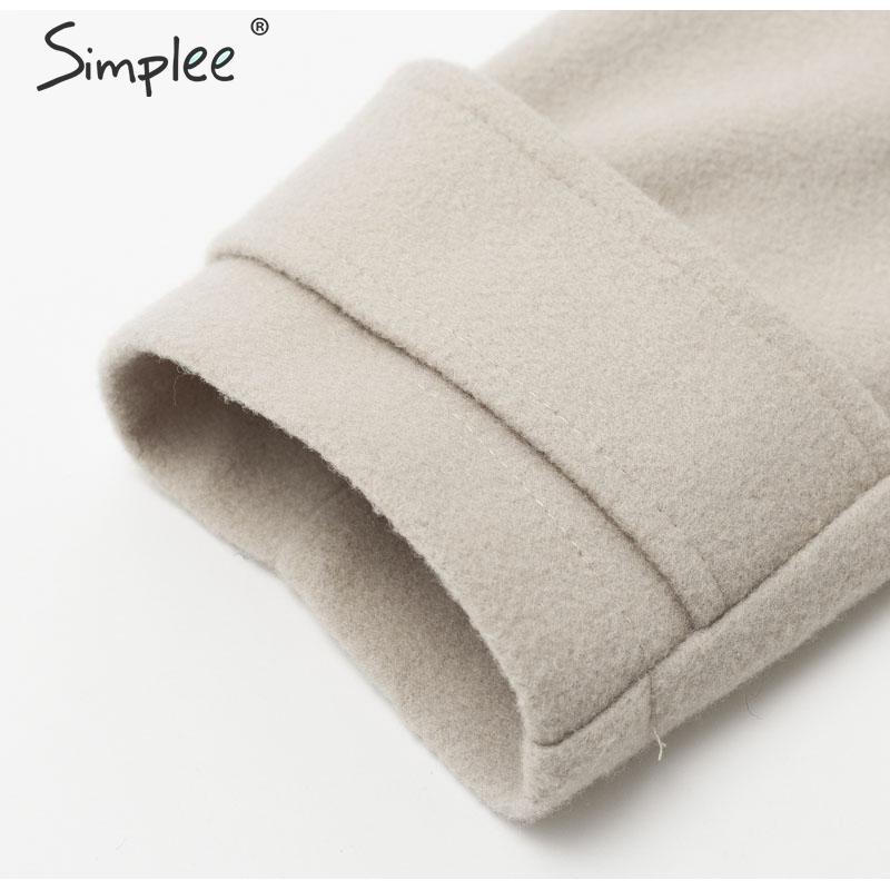 Simplee Wool blend winter tweed coat women Long sleeve elegant sash belt female outwear coat Autumn winter streetwear coat 12